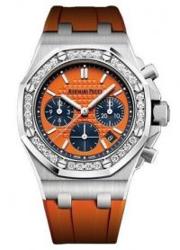 Audemars Piguet Chronographe a remontage automatique en chene royal, acier inoxydable, diamant, orange, 37 mm