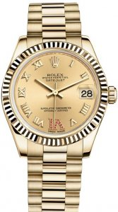 Replique Rolex Datejust 31mm or jaune 18 ct Oyster 178278