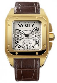 Replique Cartier Santos 100 Chronographe Automatique Or jaune W2