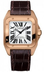 Replique Cartier Santos 100 18k Or rose Marron moyen Bracelet Al