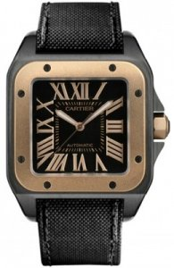 Replique Cartier Santos 100 Carbon Grand Rose Automatique Or Aci