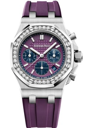 Audemars Piguet Royal Oak OffShore 26231 Lady Chronographe Acier Inoxydable Prune Diamant