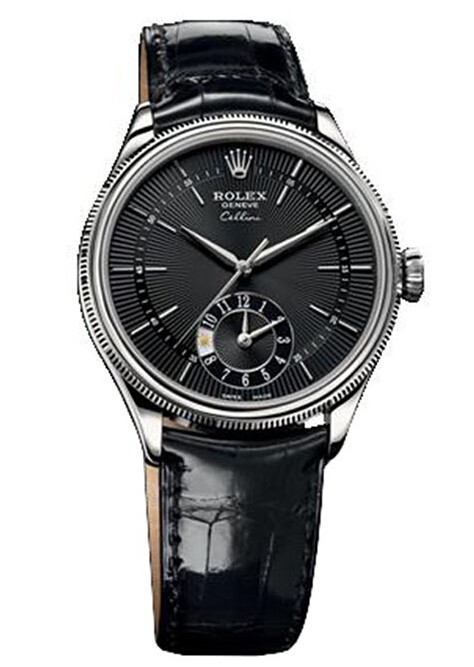 Replique Rolex Cellini Dual Time en or blanc 50529 bkbk