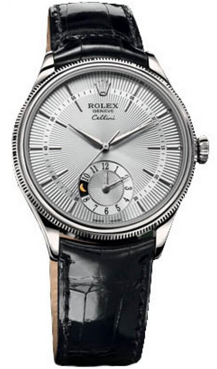 Replique Rolex Cellini Dual Time en or blanc 50529 sbk