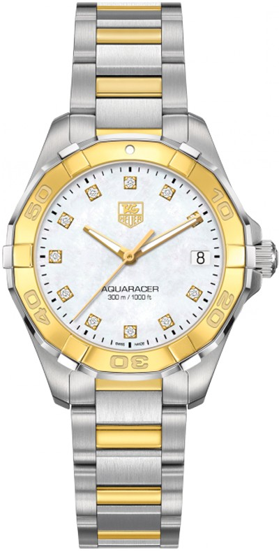Replique TAG Heuer Aquaracer 300M Femme inoxydable&32MM or jaune
