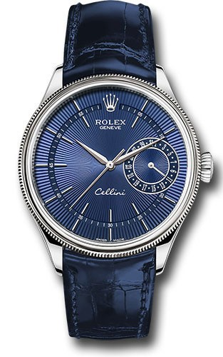 Replique Rolex Cellini Date 39mm Blanc Or Bleu Cadran M50519-001