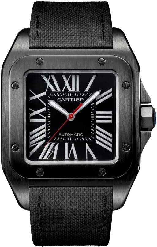 Replique Cartier Santos 100 Carbone Grand Cuir automatique Homme